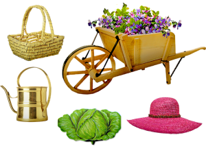 Garden Wheelbarrow Hat Basket